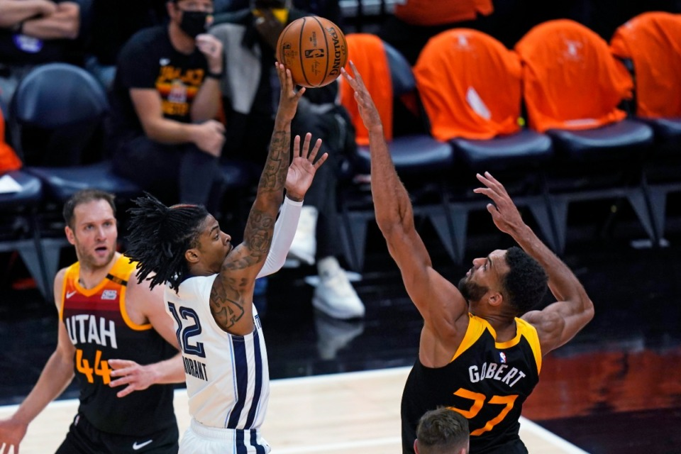 <strong>Utah Jazz center Rudy Gobert (27) blocks Ja Morant&rsquo;s shot during Game 5 of the first-round playoff series Wednesday, June 2, 2021, in Salt Lake City.</strong> (Rick Bowmer/AP)