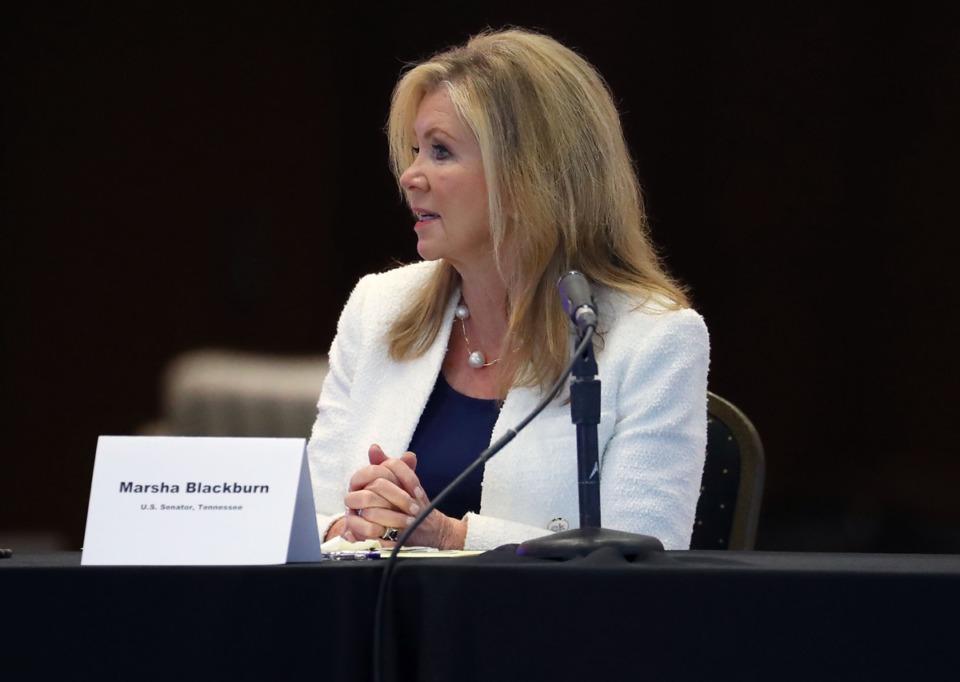 <strong>U.S. Senator Marsha Blackburn talks during a meeting with Secretary of Transportation Pete Buttigieg in Memphis June 3, 2021.</strong> (Patrick Lantrip/Daily Memphian)