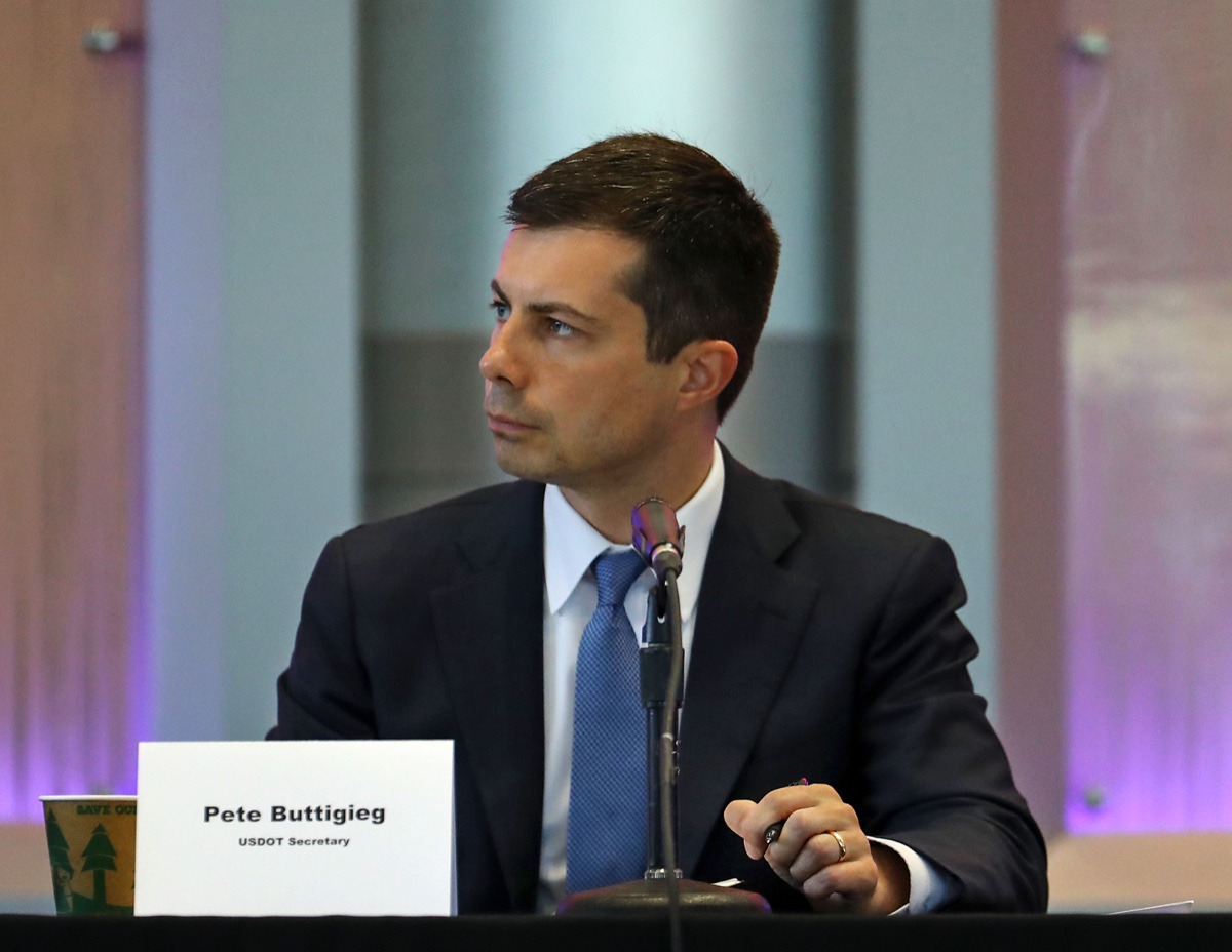 <strong>Secretary of Transportation Pete Buttigieg sits down with local elected officials and FedEx executives while visiting Memphis June 3, 2021.</strong> (Patrick Lantrip/Daily Memphian)
