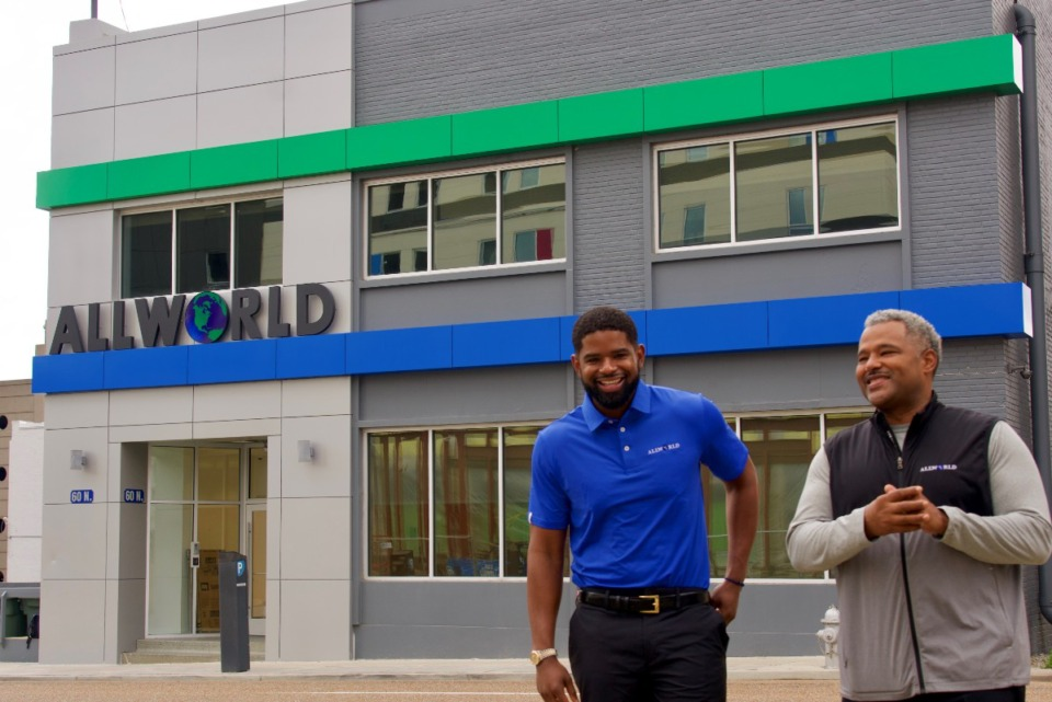 <strong>Allworld founder/chief executive Michael Hooks Jr. (right) and his cousin, co-owner/chief administrative officer Brent Hooks.</strong>&nbsp;(Tom Bailey/Daily Memphian)