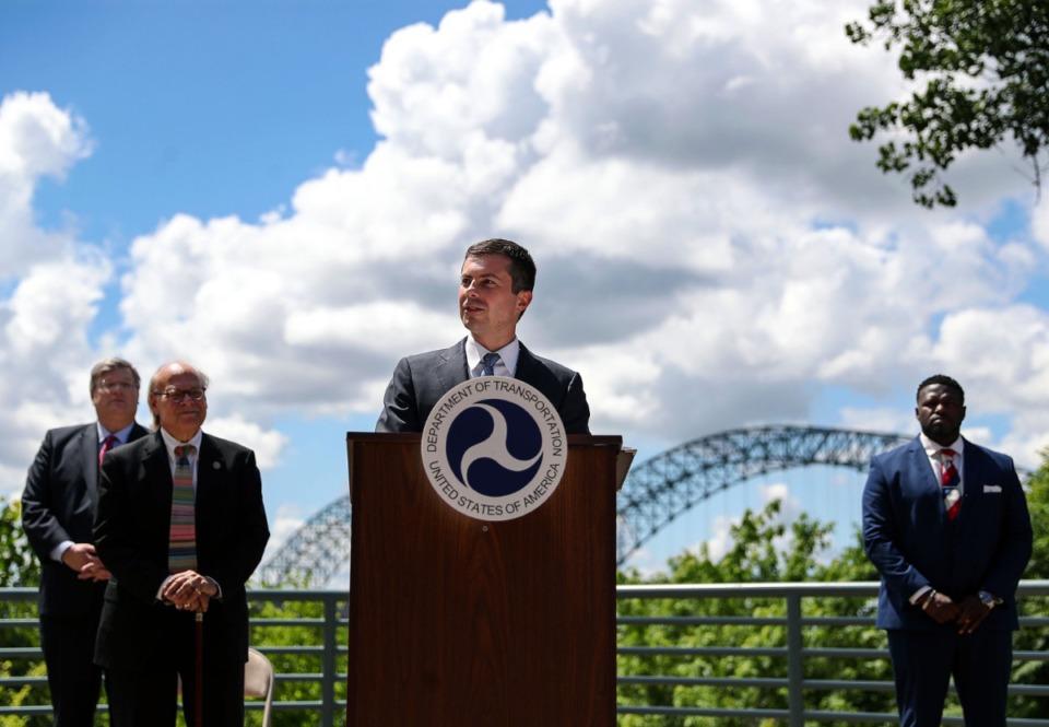 <strong>Secretary of Transportation Pete Buttigieg speaks about the Hernando-Desoto Bridge at an event in Downtown Memphis June 3, 2021.</strong> (Patrick Lantrip/Daily Memphian)