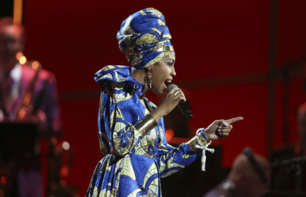 <strong>Jazzmeia Horn performed at the Grammy Awards on Jan. 28, 2018, in New York. The jazz singer performs Saturday at GPAC. </strong>(Matt Sayles/Associated Press file)