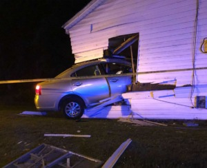 <strong>A car rammed into the house early Saturday, June 5, 2021.&nbsp;According Galen Young&rsquo;s college teammate, Marlon Thomas, Young was visiting his mother when the accident occurred.</strong> (Courtesy Young Family)
