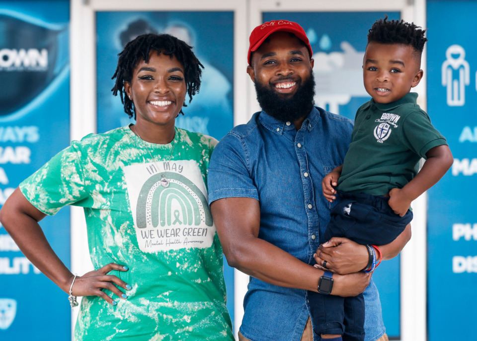 <strong>Three-year-old King Lee, with his parents Whitney and Floyd Lee III, has attended Brown Christian Academy since it opened.</strong> (Mark Weber/The Daily Memphian)