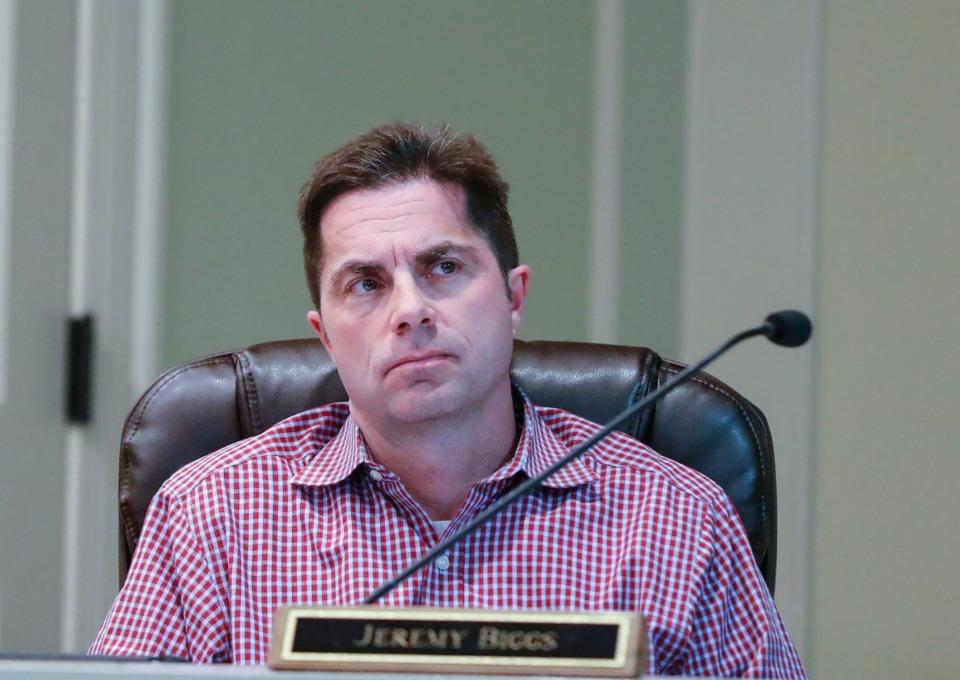 <strong>Alderman Jeremy Biggs attends an Arlington Board of Mayor and Aldermen meeting on Monday March. 2, 2020.</strong> (Mark Weber/Daily Memphian file)