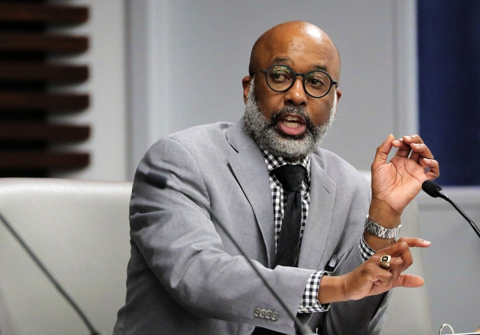 <strong>&ldquo;We can&rsquo;t be brilliant at the basics with a budget that doesn&rsquo;t provide a basic level of funding,&rdquo; Memphis City Council member Martavius Jones (shown at a committee meeting in 2020) told fellow council members on Tuesday, June 8.</strong> (Patrick Lantrip/Daily Memphian file)