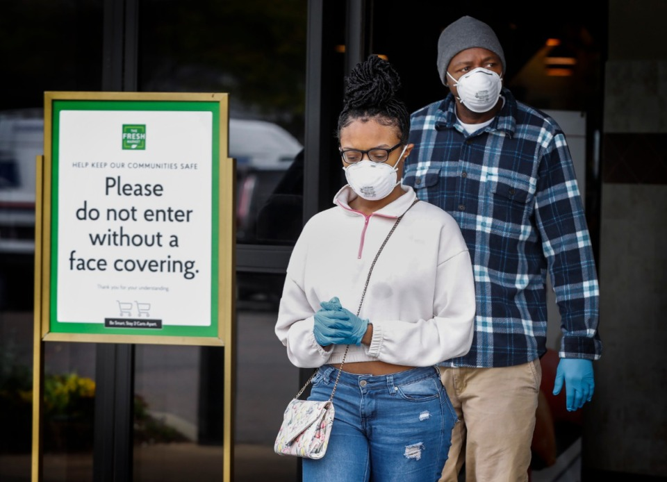 <strong>Fresh Market customers were asked to wear face masks when entering the store beginning in April 2020. The latest health directive from Shelby County Health Department, issued June 9, eliminates nearly all business restrictions.</strong> (Mark Weber/Daily Memphian file)