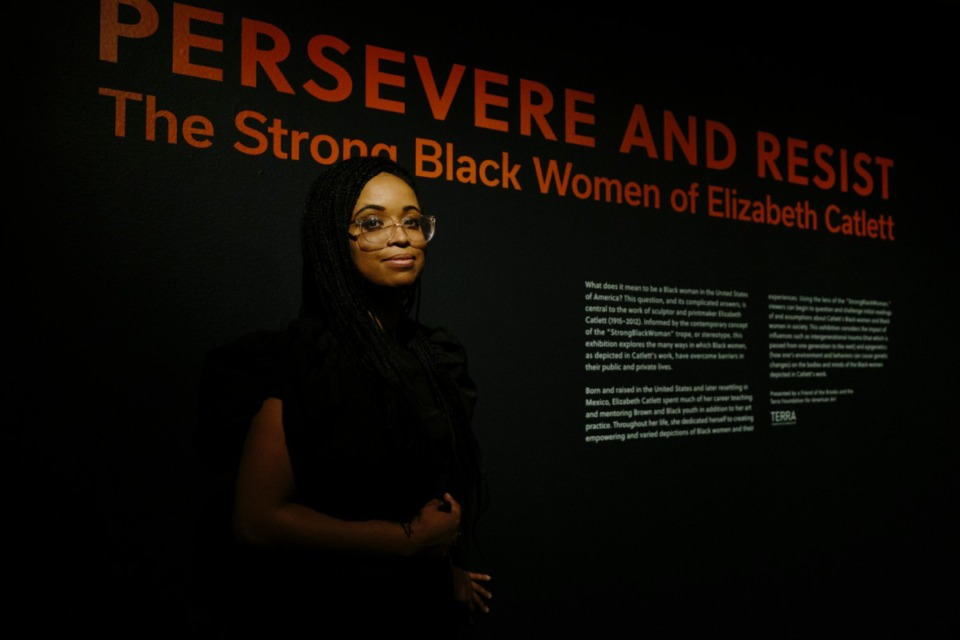 <strong>The Memphis Brooks Museum of Art&rsquo;s&nbsp; &ldquo;Persevere and Resist: The Strong Black Women of Elizabeth Catlett&rdquo; exhibit begins in a gallery with low ceilings and low lighting. &ldquo;You have to get close to look at the detail,&rdquo; says curator Heather Nickels.</strong> (Ziggy Mack/Special to the Daily Memphian)
