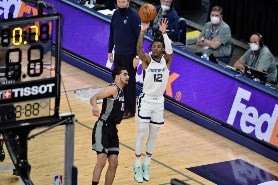 <strong>Memphis Grizzlies guard Ja Morant (12) is the subject of &ldquo;Promiseland.&rdquo;&nbsp;The six-part documentary series recently debuted on the Crackle network</strong>. (AP Photo/Brandon Dill)