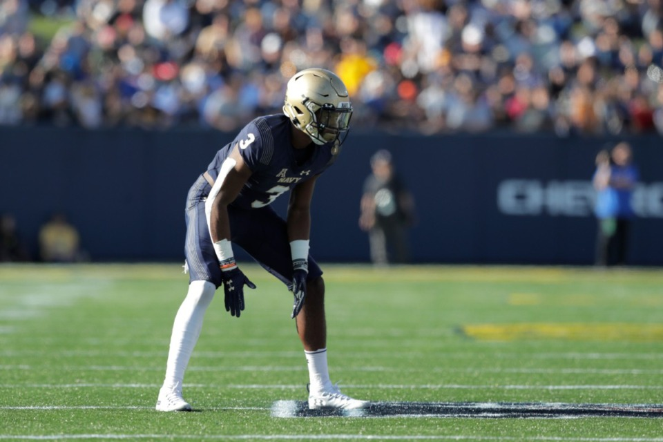 <strong>Navy cornerback Cameron Kinley waits for the snap against Air Force during the first half of an NCAA college football game Saturday, Oct. 5, 2019, in Annapolis, Maryland.</strong> (AP Photo/Julio Cortez)
