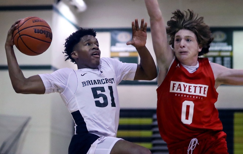 <strong>Briarcrest guard Jaye Nash (51) goes up for a layup during a June 8, 2021 summer game against Fayette Academy</strong>. (Patrick Lantrip/Daily Memphian)