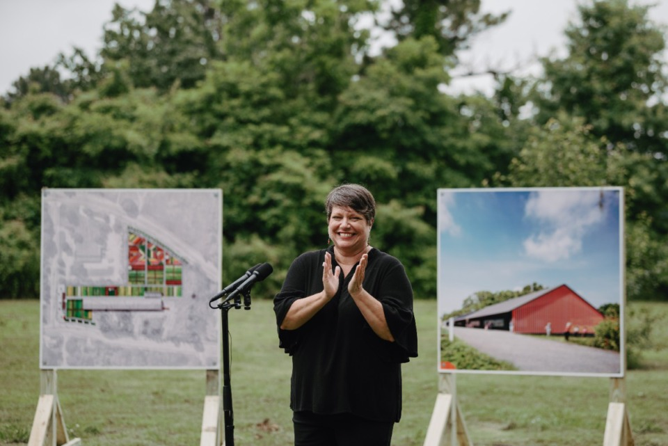 <strong>Lisa Moore, President and CEO of Girls Inc. of Memphis, welcomes supporters to the groundbreaking event in Frayser Thursday, Jun. 10th, 2021.</strong> (Lucy Garrett/Special to the Daily Memphian)