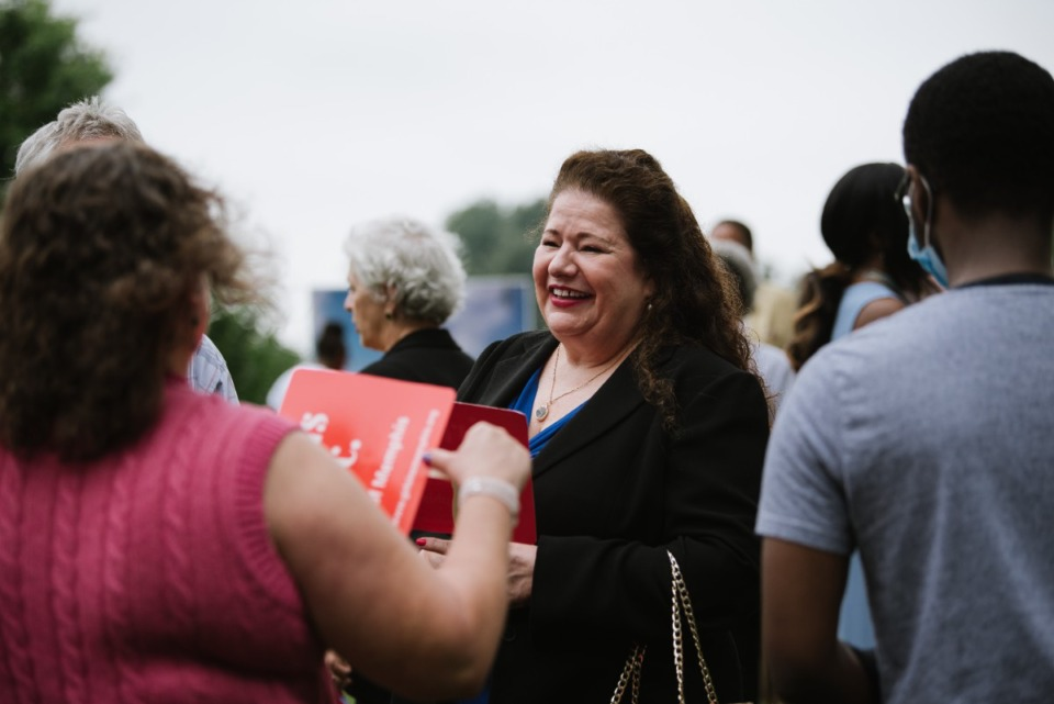 <strong>Supporters of Girls Inc. of Memphis greet and chat with each other ahead of the groundbreaking ceremony.</strong> (Lucy Garrett/Special to the Daily Memphian)