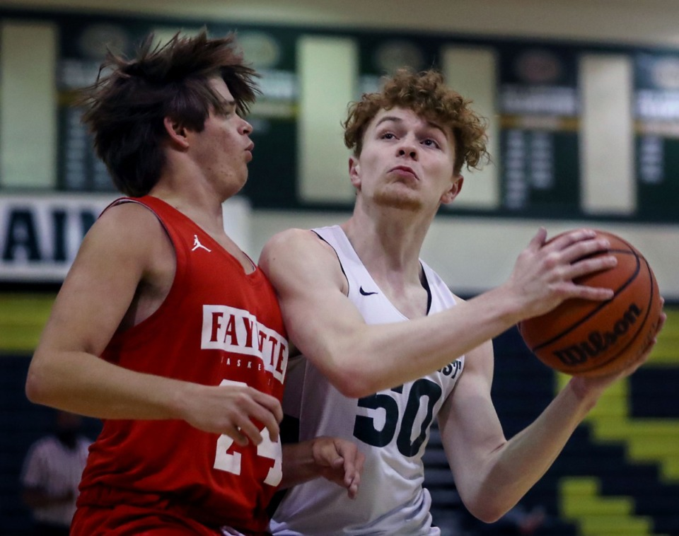 <strong>Briarcrest guard Cooper Haynes (50) goes up for a layup during a June 8, 2021 summer game against Fayette Academy.</strong> (Patrick Lantrip/Daily Memphian)