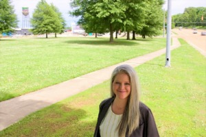 <strong>Kate Haywood of Daily Design Group is designing the townhouses that would rise near busy Sam Cooper Boulevard (right) and just west of Binghampton and the Broad Avenue Arts District. (background).</strong> (Tom Bailey/Daily Memphian)
