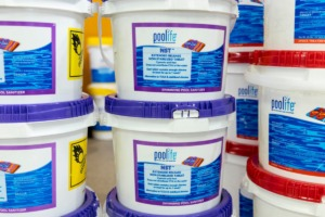 <strong>Buckets of non-stabilized chlorine tablets are seen at the Memphis Pool store.</strong> (Brad Vest /Special to The Daily Memphian)