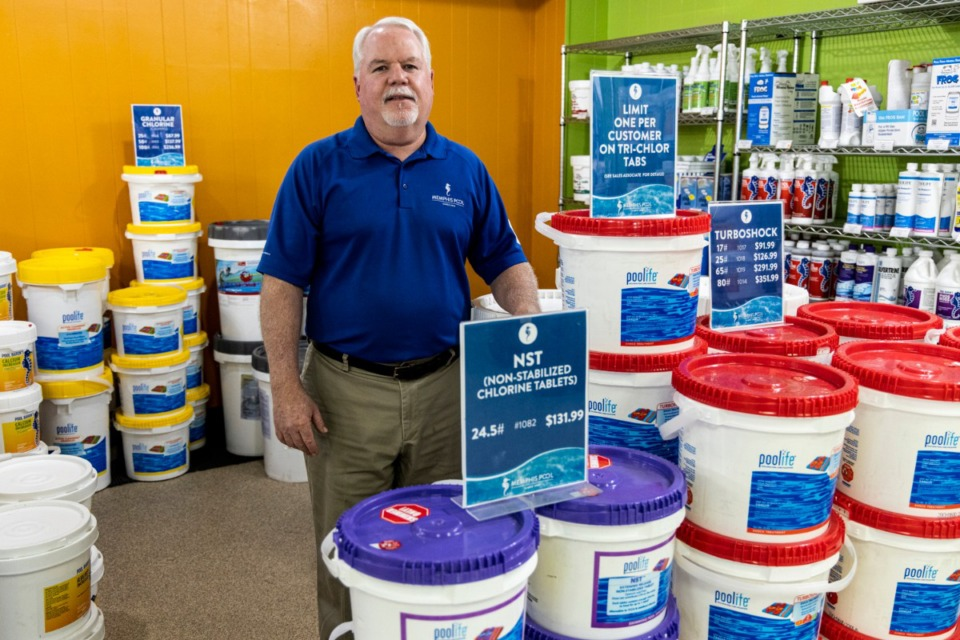 <strong>Mark Reed, president and CEO of Memphis Pool, says non-stabilized chlorine tablets are widely available. &ldquo;Everyone is panicking over nothing,&rdquo; Reed said about the stabilized chlorine tablet shortage.</strong> (Brad Vest/Special to The Daily Memphian)