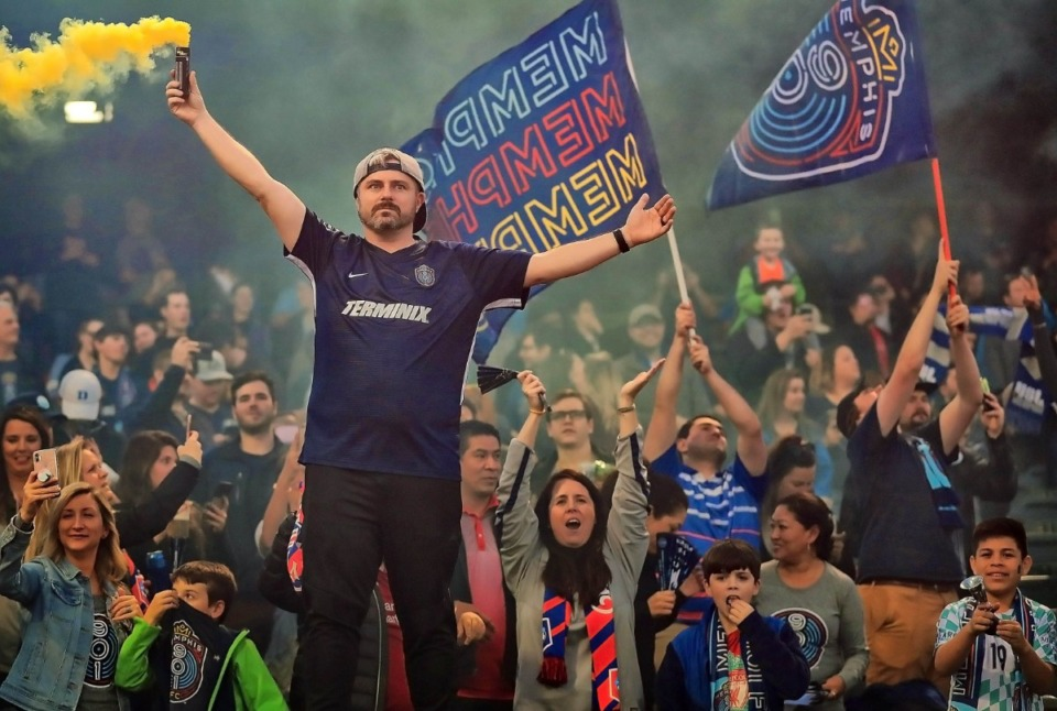 <strong>Memphis soccer fans (in a 2019 file photo) will be back at AutoZone park for a home game Wednesday.</strong> (Jim Weber/Daily Memphian)