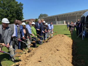 <strong>Dignitaries break ground for Liberty Park youth sports complex Monday, June 14, on the southwest corner of the Fairgrounds property.</strong> (Bill Dries/Daily Memphian)