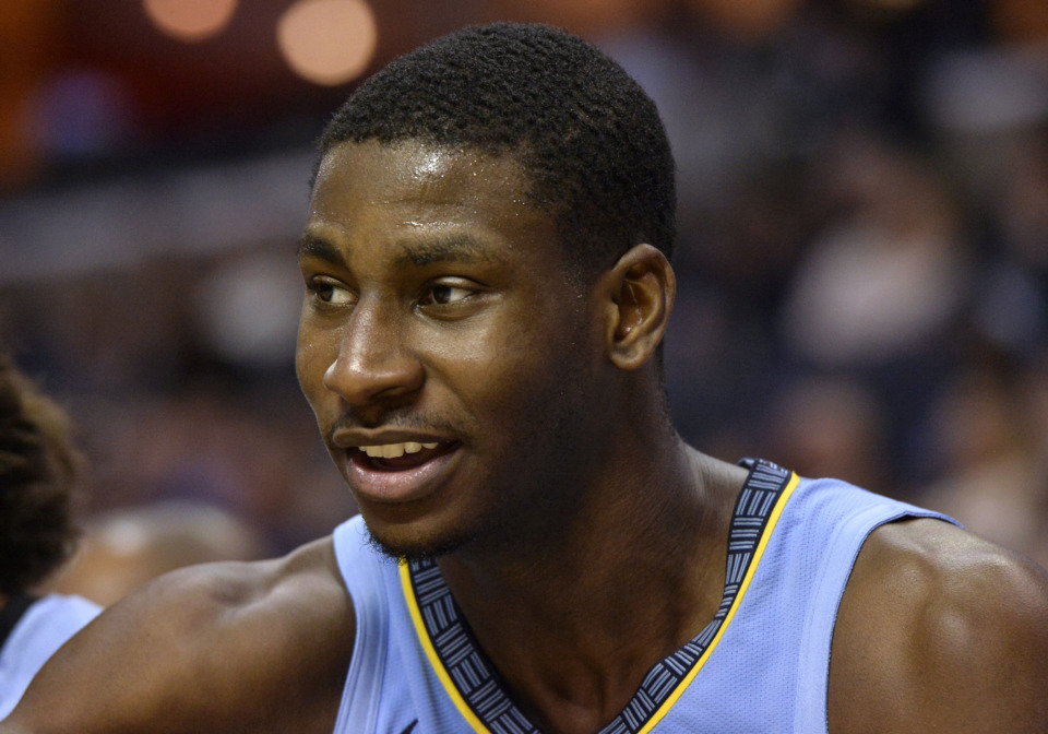 <span><strong>Memphis Grizzlies forward Jaren Jackson Jr. sits on the bench in the second half of an NBA basketball game against the Indiana Pacers Saturday, Jan. 26, 2019, in Memphis, Tenn.</strong> (AP Photo/Brandon Dill)</span>