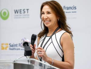 <strong>West Clinic Cancer Chief Medical Officer Dr. Sylvia Richey speaks during a press conference announcing a partnership with Saint Francis Hospital on Tuesday, June 15, 2021.</strong> (Mark Weber/The Daily Memphian)
