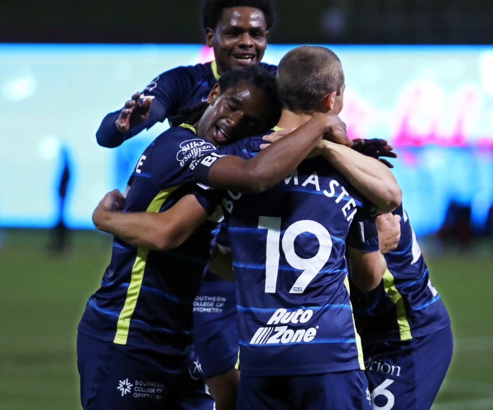 <strong>Memphis 901 FC players celebrate a goal during the last home game of 2020 against the Birmingham Legion in October of last year.</strong> (Patrick Lantrip/Daily Memphian file)