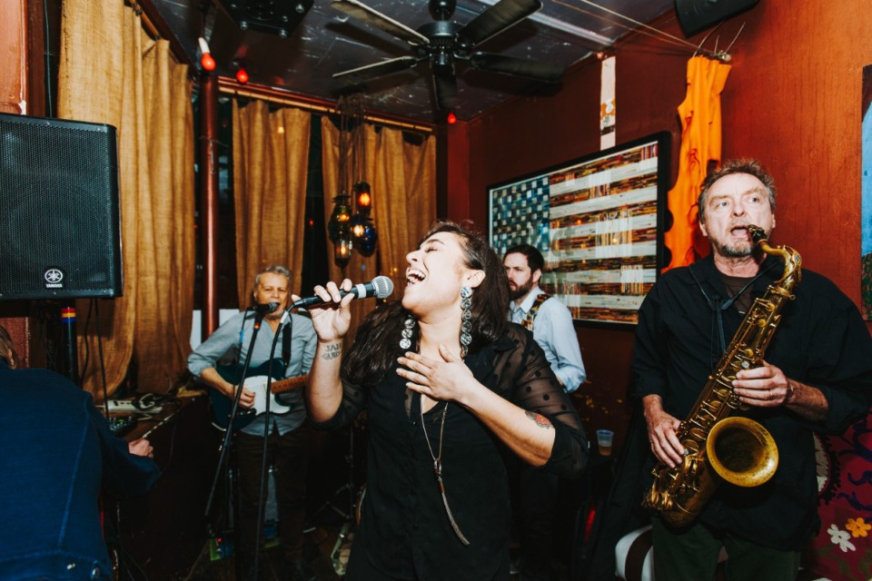 <strong>Marcella and Her Lovers play at Cooper-Young&rsquo;s Bar DKDC in 2018. The band will help re-open the club, post-COVID, this weekend.</strong> (Houston Cofield/The Daily Memphian)