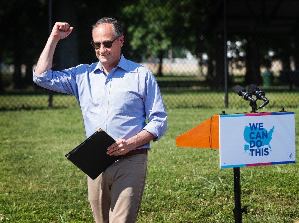 <strong>Second Gentleman Doug Emhoff, husband of Vice President Kamala Harris, gestures to the crowd gathered on Wednesday, June 16, at Douglass High School. Emhoff was in Memphis to push for vaccinations as part of national tour.</strong> Mark Weber/The Daily Memphian)