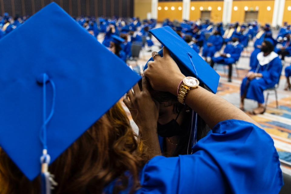 <strong>Graduates prepare for the Watkins Overton High School Commencement at the Renasant Convention Center on Wednesday.</strong>&nbsp;(Brad Vest/Special to The Daily Memphian