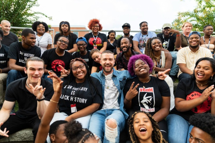 <strong>Justin Timberlake visits with students from the Stax Music Academy in 2019, when his&nbsp;working relationship with the organization began.</strong> (Stax Music Academy)