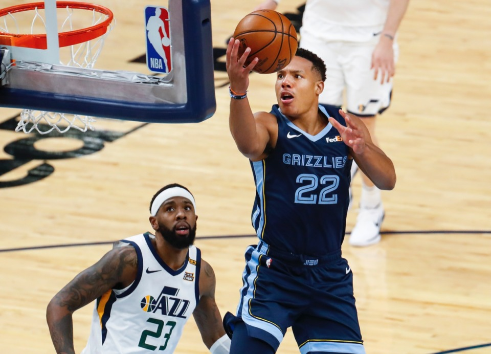 <strong>Grizzlies forward Desmond Bane (right, on May 31) was named second-team All-Rookie.</strong> (Mark Weber/The Daily Memphian file)