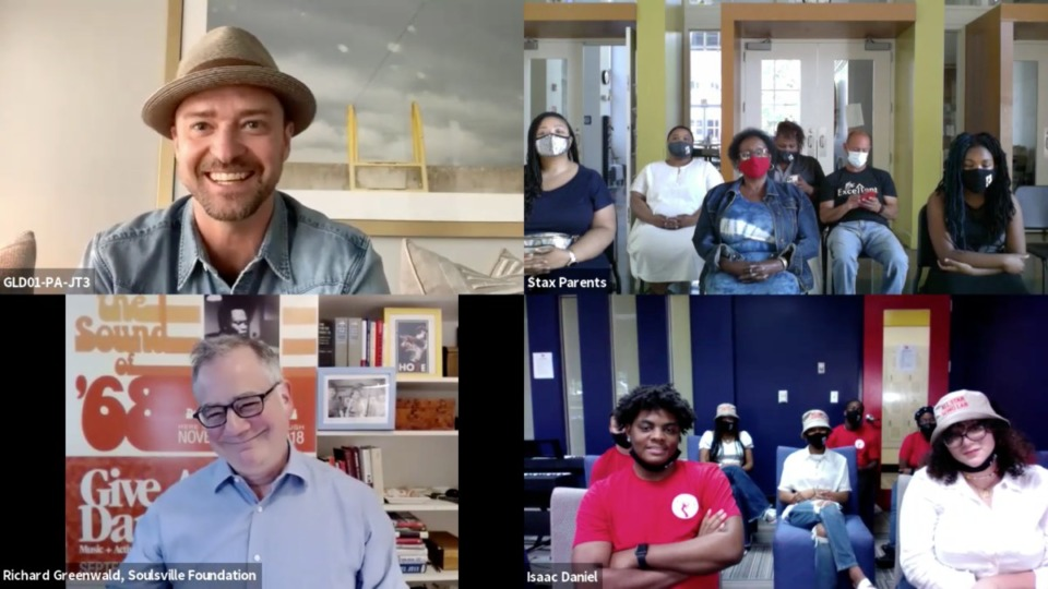 <strong>Justin Timberlake worked with a group of Stax Music Academy students on a&nbsp;&ldquo;Song Lab&rdquo; writing and production project. Students presented their completed songs to Timberlake, and their parents, via Zoom.</strong> (Courtesy of Justin Timberlake/Imprint Projects)