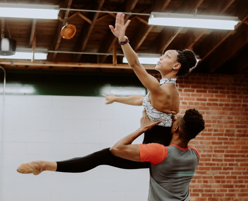 <strong>Caio Dos Santos (right) practices a dance routine with Miyesha McGriff (left) at Collage Dance Collective. The nonprofit was among organizations recently receiving grants from MacKenzie Scott.</strong> (Houston Cofield/Daily Memphian)