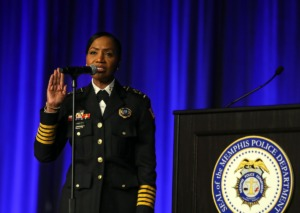 <strong>Memphis Police chief Cerelyn J. Davis is sworn during a June 18, 2021 ceremony.</strong> (Patrick Lantrip/Daily Memphian)