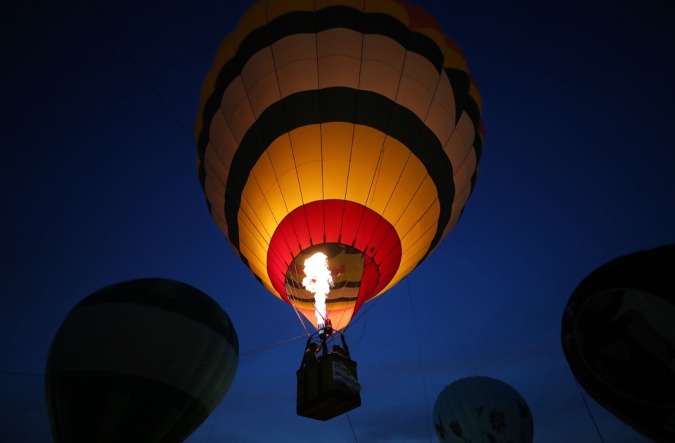 <strong>A lone hot air balloon takes off during the first day of the Bluff City Balloon Jamboree in Collierville on June 18, 2021.</strong> (Patrick Lantrip/Daily Memphian)
