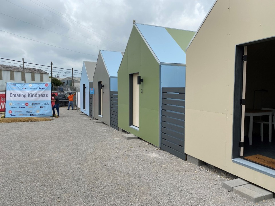 <strong>A row of five&nbsp;&ldquo;Hospitality Studios&rdquo; are the latest additions to the intake area for those in homelessness next to the site of the women&rsquo;s shelter.</strong> (Daily Memphian/Bill Dries)