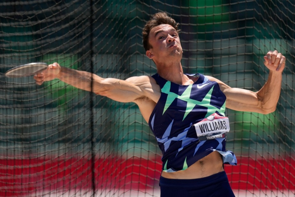 <strong>Former MUS standout Harrison Williams competes in the decathlon discus throw at the U.S. Olympic Track and Field Trials Sunday, June 20, in Eugene, Ore.</strong> (Charlie Riedel/Associated Press)