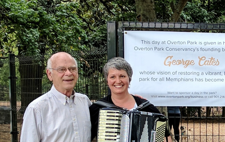 <strong>George Cates stands with Tina Sullivan, executive director of Overton Park Conservancy. Cates&nbsp;was involved in the creation of the conservancy and was a board member emeritus.</strong> (Daily Memphian file)