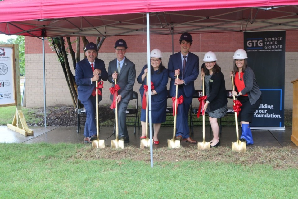 <strong>At the June 3 ceremonial groundbreaking for the Houston Middle School addition were Germantown Municipal School District Superintendent Jason Manuel (from left), board member Brian Curry, vice-chair Betsy Landers, board member Ryan Strain, board member Angela Griffith and&nbsp; Chairwoman Amy Eoff.</strong> (Submitted)
