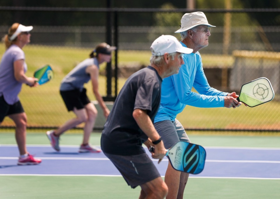 <strong>Players hit the new Bartlett pickleball courts.</strong> (Mark Weber/The Daily Memphian)