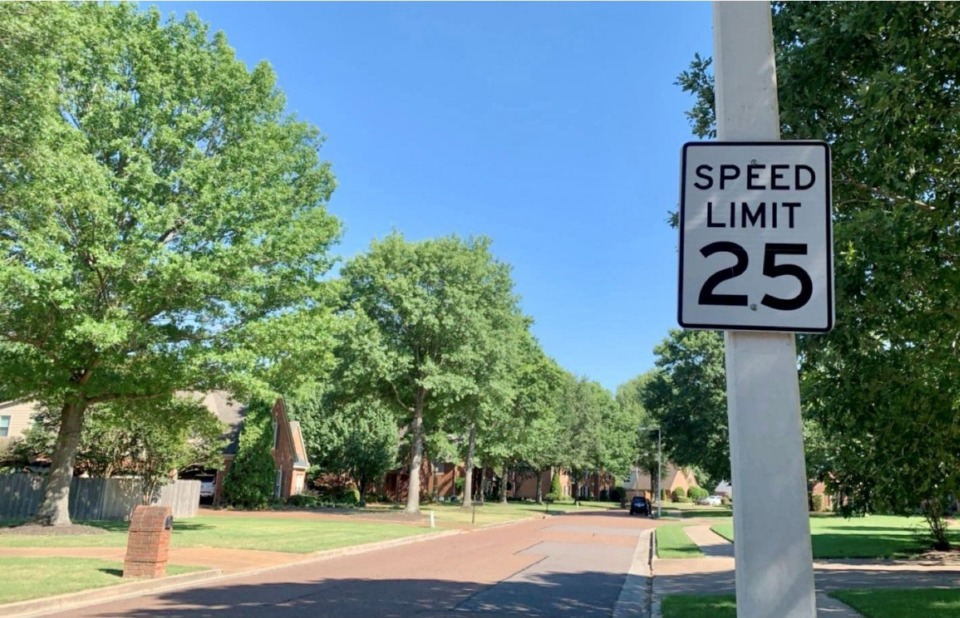 <strong>Germantown will review a resolution setting the speed limit in neighborhoods to 25 mph. On Spring Hollow Lane on the northeast side of the suburb, the speed limit is already 25 mph.</strong> (Abigail Warren/Daily Memphian)