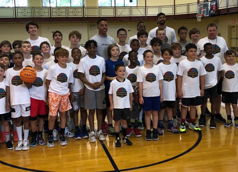 <strong>Grizzlies rookie Desmond Bane (center, in gray T-shirt) was on hand for the final day of his namesake Shooting Camp at the H.W. Cox Community Center in Collierville.&nbsp;</strong>(John Varlas/Daily Memphian)