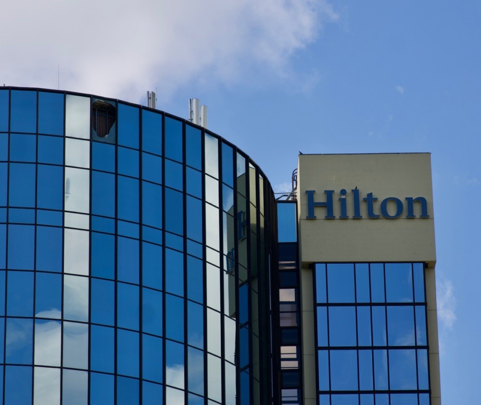 <strong>The missing window at the Hilton Memphis faces northwest, toward Interstate 240.</strong> (Tom Bailey/Daily Memphian)