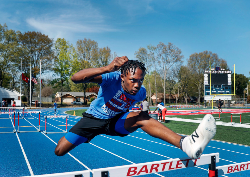 <strong>Bartlett hurdler Kylan Bernard won the state title in the 110-meter hurdles and also produced points in the 300-meter hurdles, the triple jump and decathlon at state.</strong> (Mark Weber/The Daily Memphian file)