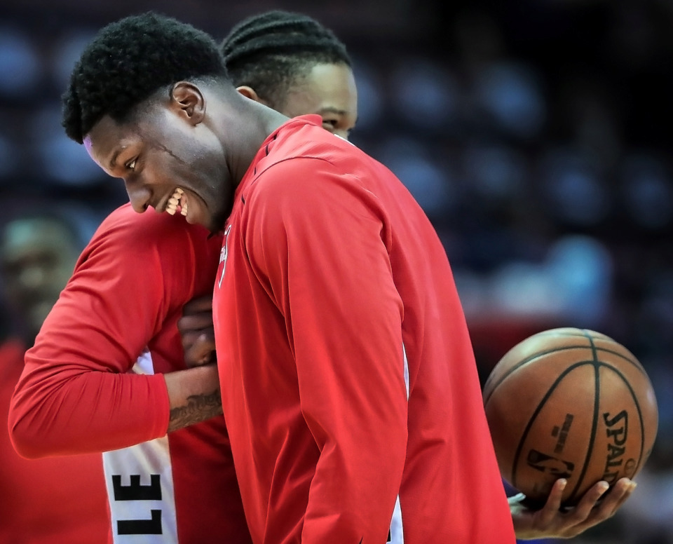 <strong>Memphis Hustle players Nino Johnson and Markel Crawford embrace before the game against the Santa Cruz Warriors at the Landers Center in Southaven, Miss. on Jan. 30, 2019.</strong> (Jim Weber/Daily Memphian)