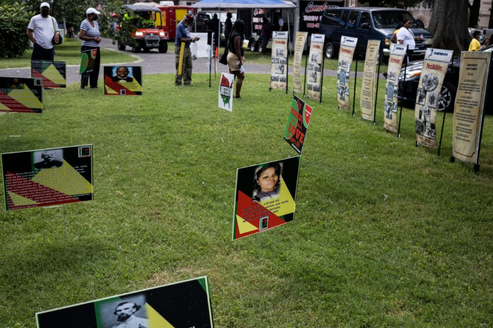 <strong>An outdoor museum depicts Black history for visitors at the Memphis Juneteenth Festival at Health Sciences Park on Saturday, June 19.</strong> (Brad Vest/Special to Daily Memphian)