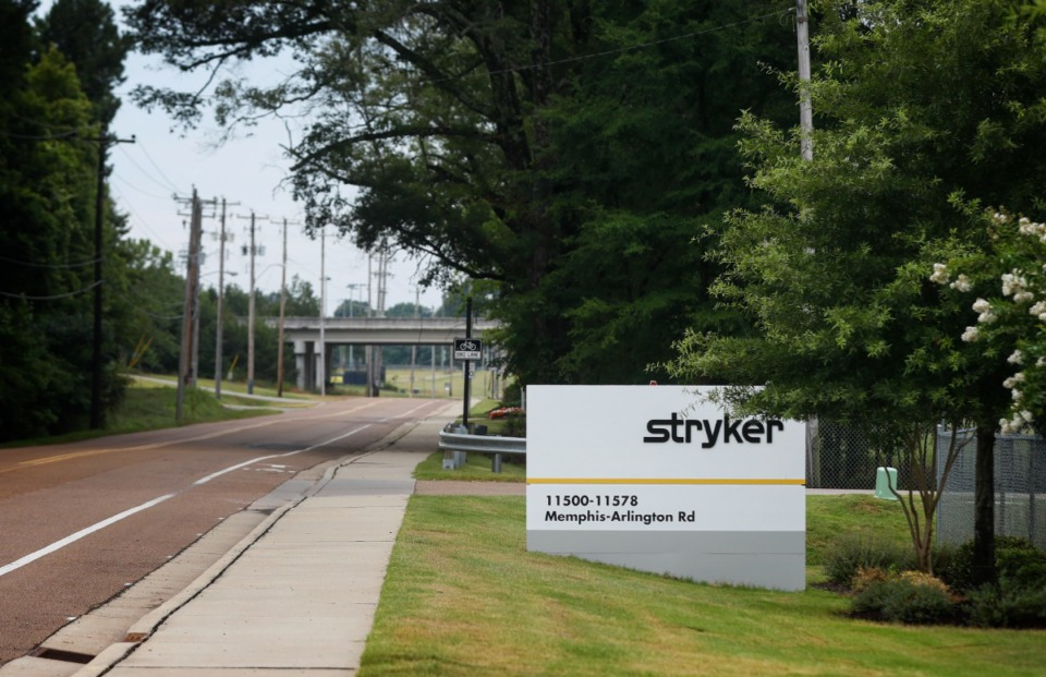 <strong>Medical device maker Stryker Inc. has completed a name change at its Arlington facility on Memphis-Arlington Road after purchasing Wright Medical Group last November. </strong>(Mark Weber/Daily Memphian)