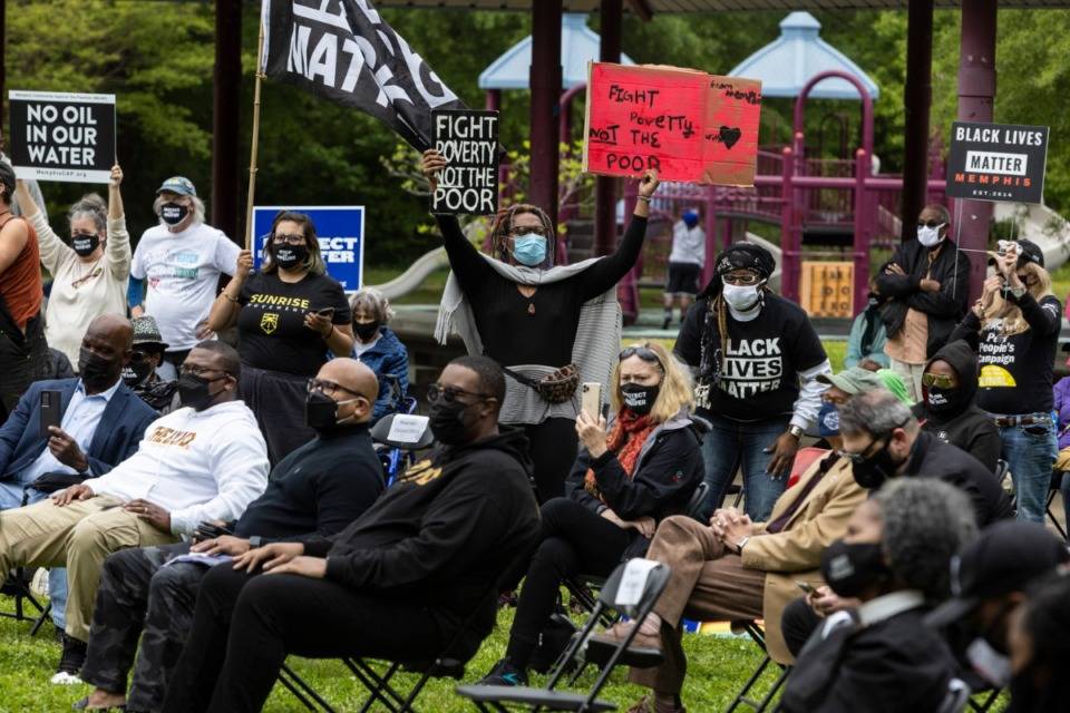<strong>An April rally at Alonzo Weaver Park is one of several held to support the Memphis Community Against the Pipeline.</strong> (Brad Vest/Daily Memphian file)
