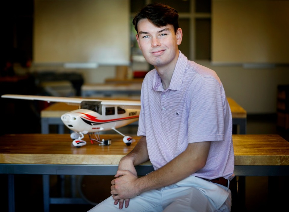 <strong>Christian Brothers High School rising senior Andrew Berntson, pictured on Tuesday, June 22, 2021, will enroll in the school&rsquo;s new aviation class next year. The University of Memphis will be partnering with CBHS to offer a two-year dual enrollment commercial aviation program for students beginning this fall.</strong> (Mark Weber/The Daily Memphian)