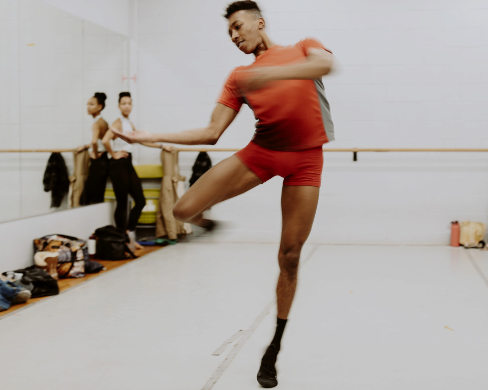 <strong>Caio Dos Santos practices a pirouette at Collage Dance Collective on Wednesday, Jan. 30, as the group prepares to leave on tour to New Jersey and Washington, D.C. ArtsMemphis awarded Collage an operating grant and an enhancement grant in 2018.</strong> (Houston Cofield/Daily Memphian)